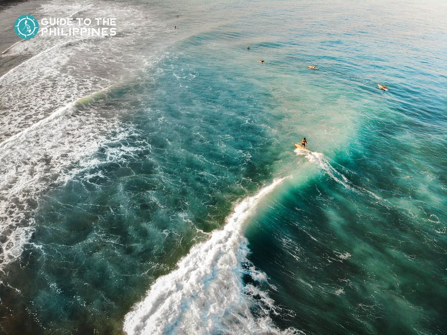 Top view of surfers at San Juan, La Union