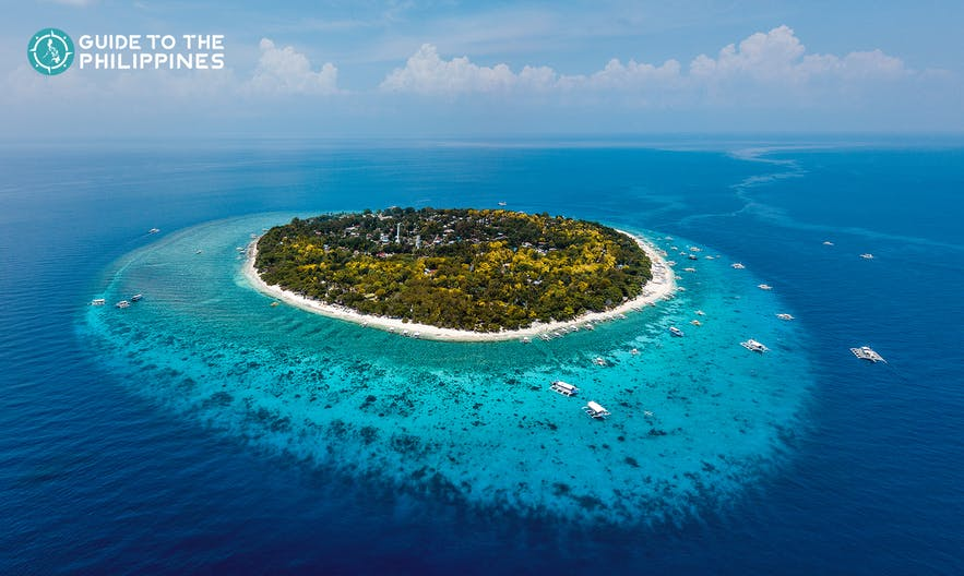 Aerial view of Balicasag Island in Bohol, Philippines