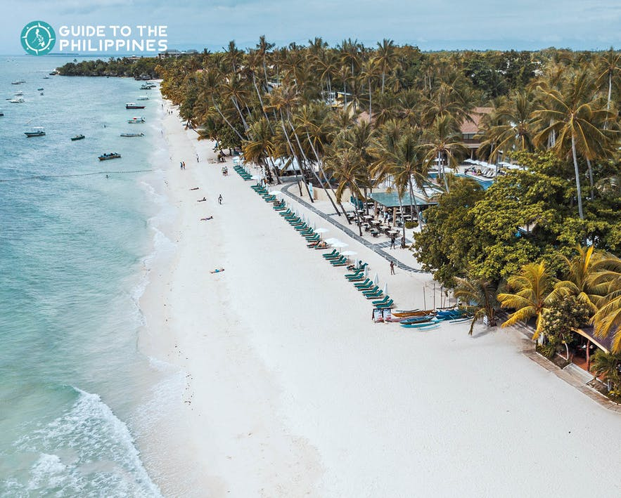 Aerial shot of Alona Beach in Panglao, Bohol