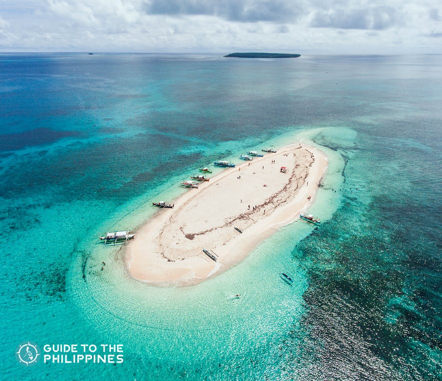 Aerial view of the Naked Island in Siargao, Philippines