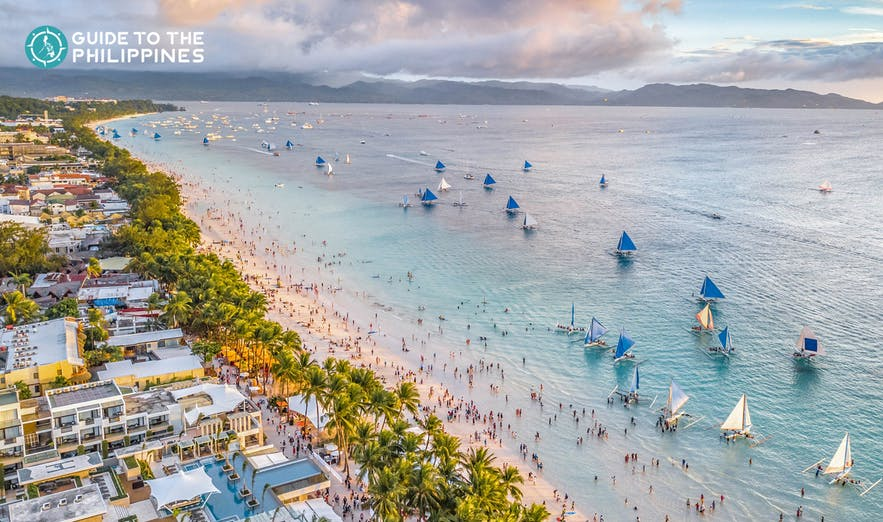 Aerial seaview during sunset in Boracay, Philippines