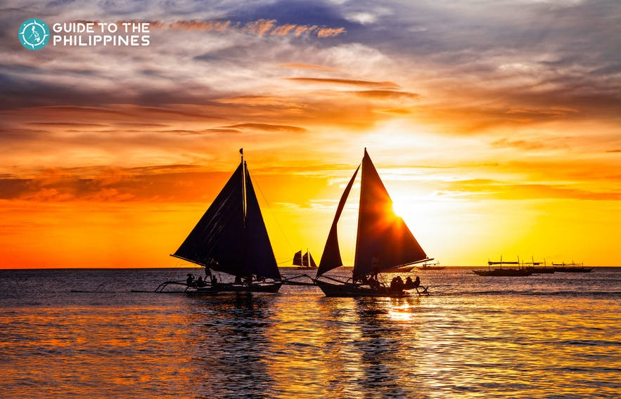 Sailboat during sunset in Boracay, Philippines