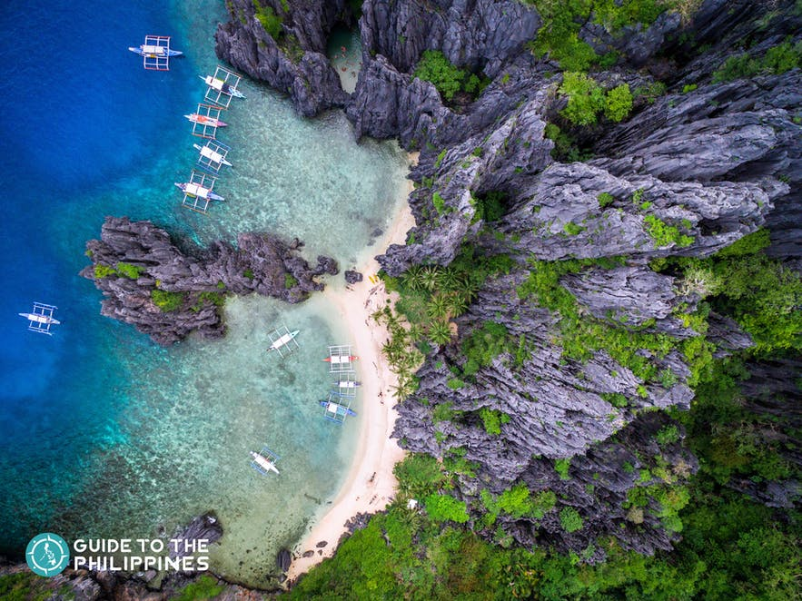 Top view of El Nido, Palawan's limestone karst and turquoise waters