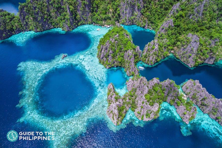 Top view of Twin Lagoon in Coron, Palawan