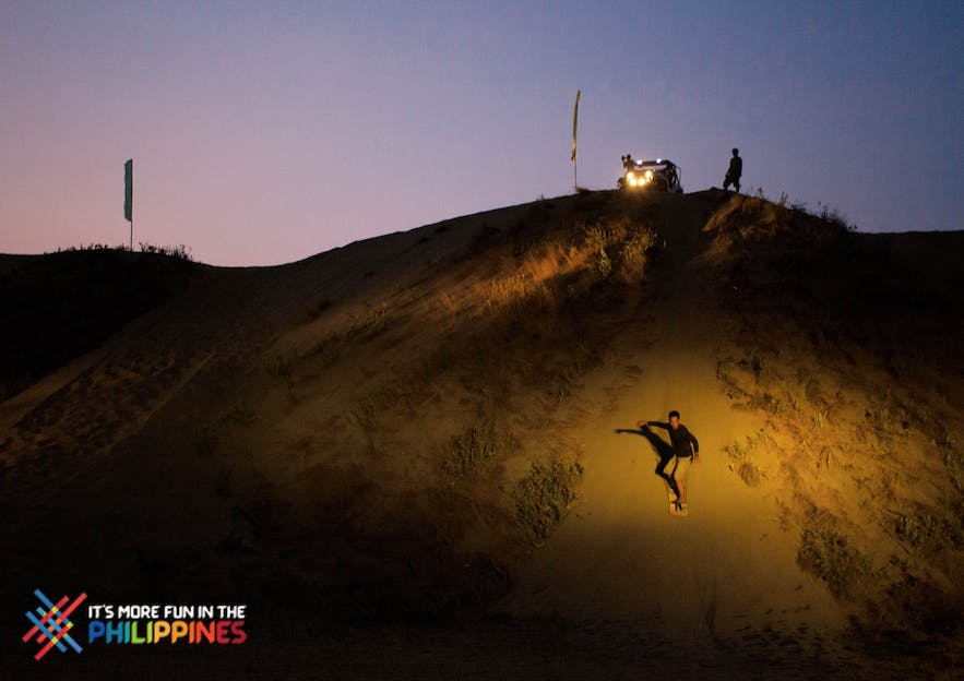 Sanboarding at La Paz Sandunes at night