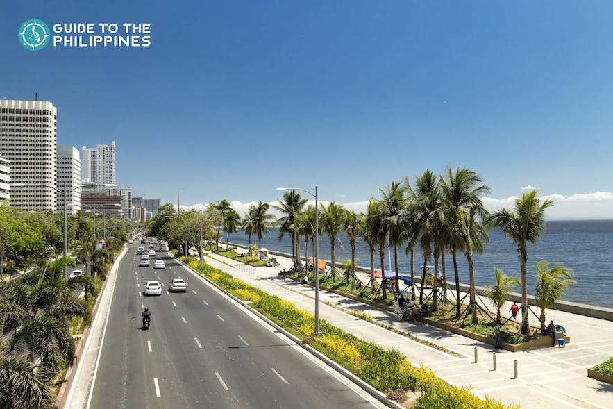 Cars along Manila Bay in the Philippines