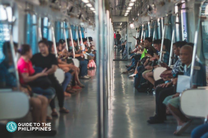 Inside the LRT in Manila, Philippines