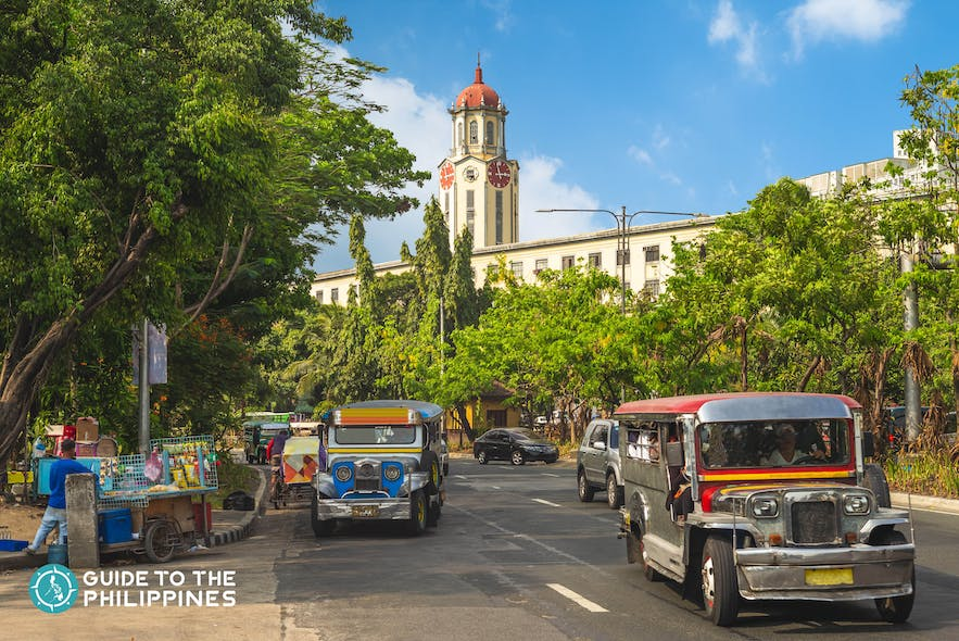 Jeeneys in front of the Manila City Hall