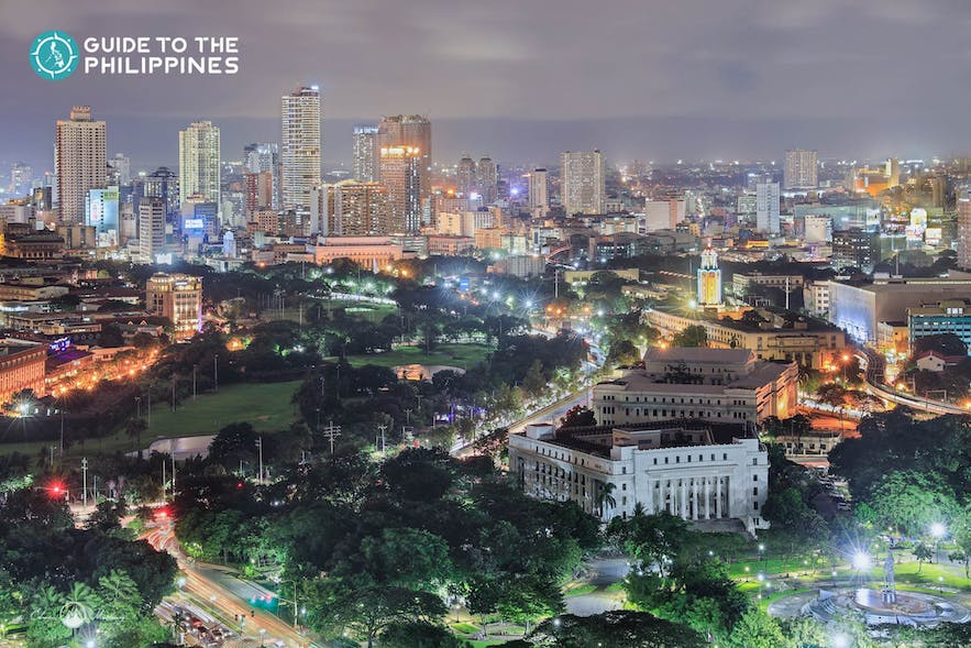 Aerial view of the National Museum of the Philippines in Manila at night