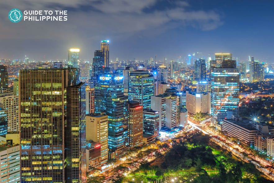 Aerial view of Ayala Triangle Gardens in Makati at night