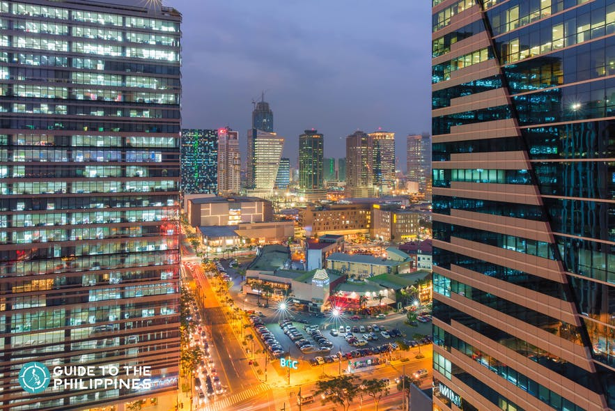 Aerial view of The Fort Strip in BGC, Taguig City at night