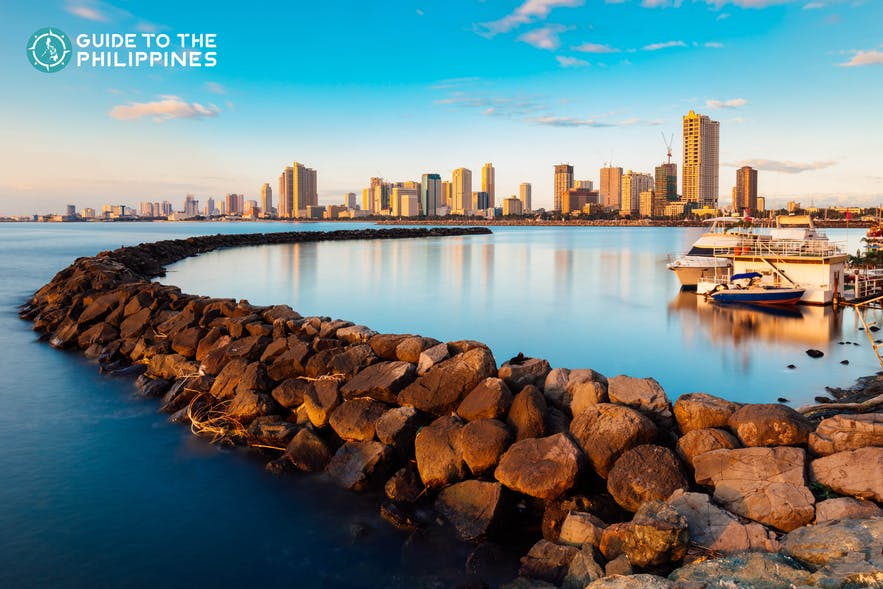 Skyline of Manila Bay in the Philippines