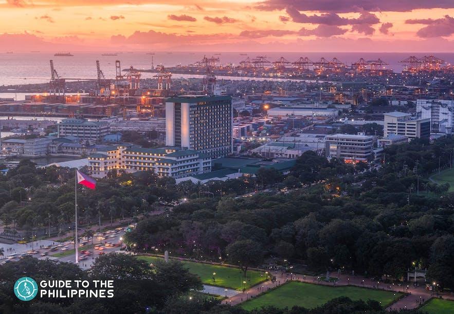Aerial view of Manila at dusk