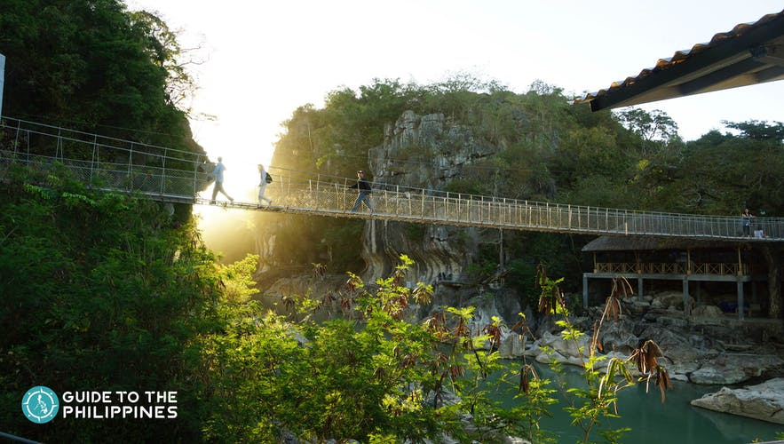 Hanging bridge at Minalungao National Park in Nueva Ecija