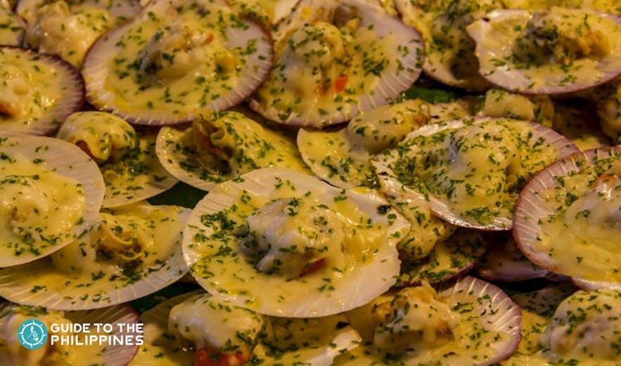 Iloilo grilled scallops served in restaurants