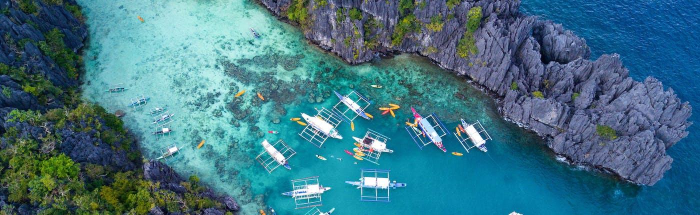 Top view of Big Lagoon in El Nido, Palawan