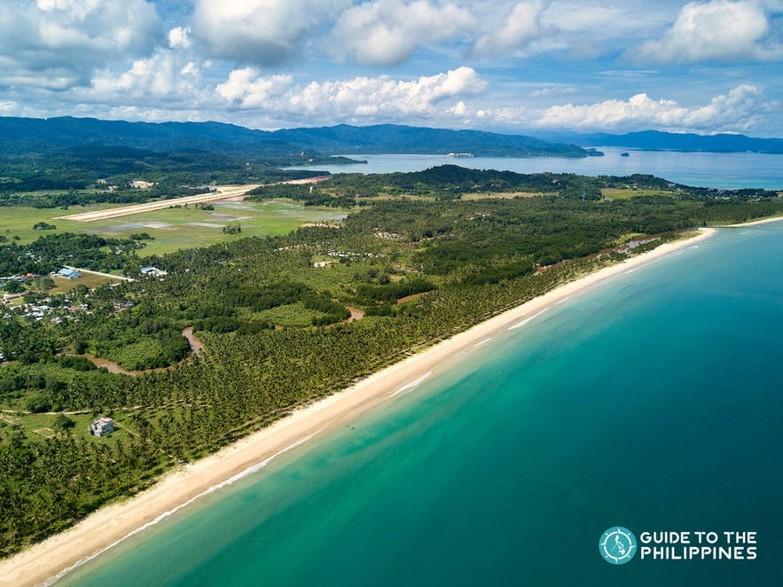 Aerial view of Long Beach in San Vicente, Palawan
