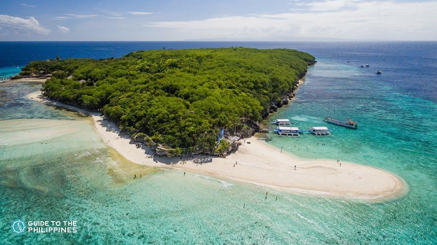 Aerial view of Sumilon Island near Oslob, Cebu