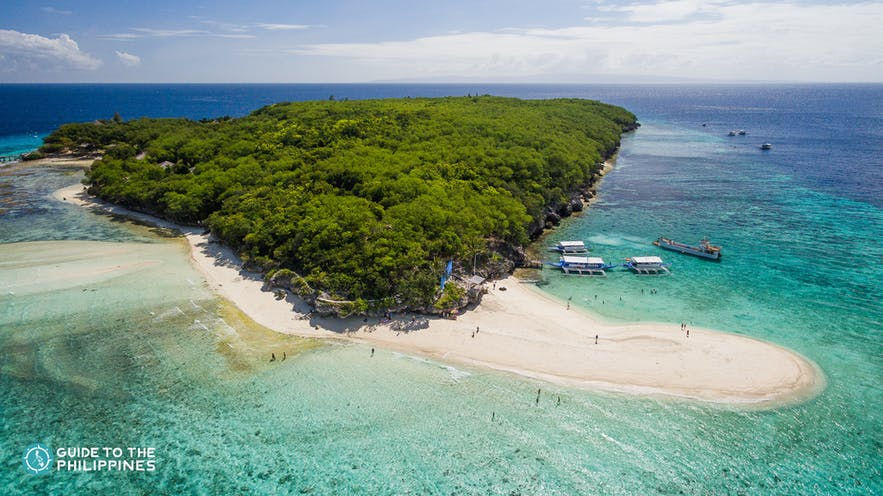 Aerial view of Sumilon Island near Oslob, Cebu