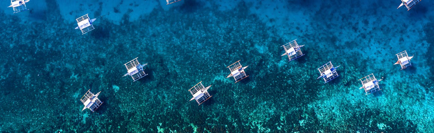 Island Hopping, & deep blue sea of Oslob, Cebu, Philippines