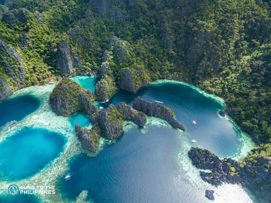 Aerial view of Coron's mesmerizing Twin Lagoon