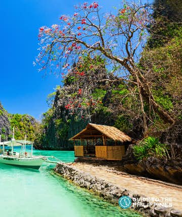 View of Coron's beautiful limestone karst and clear blue waters