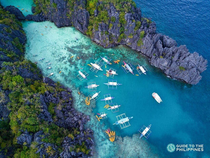 Top view of Big Lagoon in El Nido, Palawan