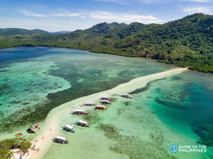 Aerial view of the sandbar at Snake Island in El Nido, Palawan