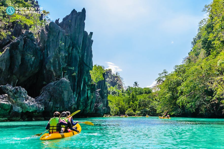 Kayaking at Big Lagoon in El Nido, Palawan