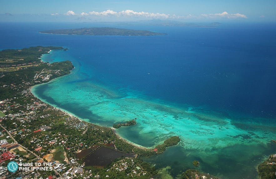 Aerial view of Hilutungan Island in Cebu