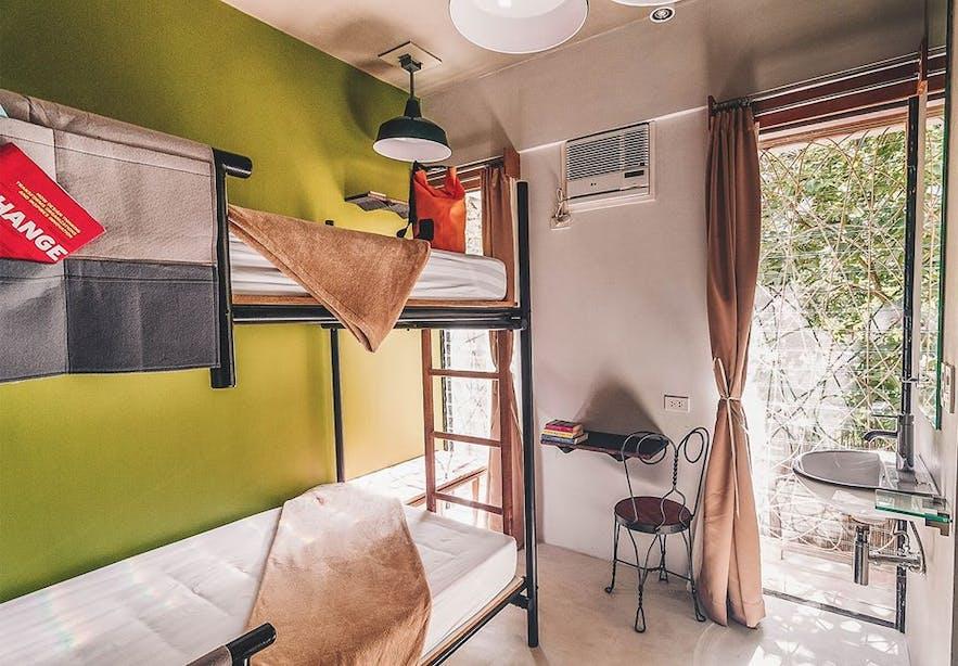 Guest room at Spin Designer Hostel in El Nido, Palawan