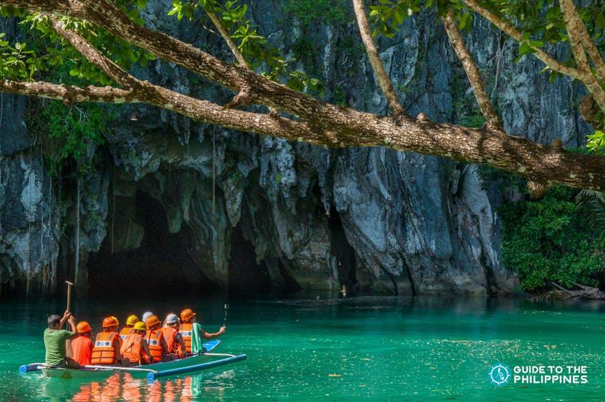 Travelers on their way into the Puerto Princesa Underground River