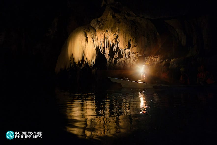 Real dark lighting in the cave of the Underground River in Puerto Princesa, Palawan