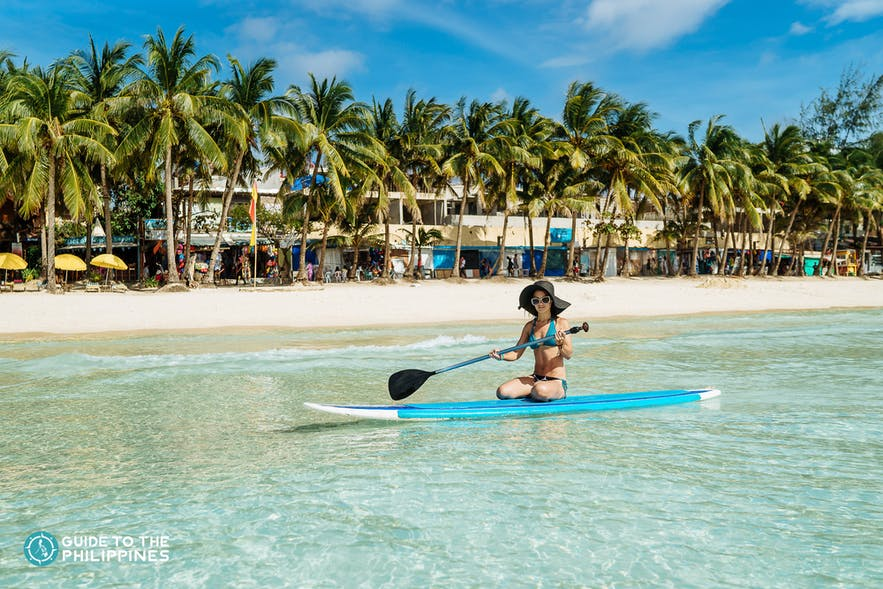 Girl paddleboarding in Boracay