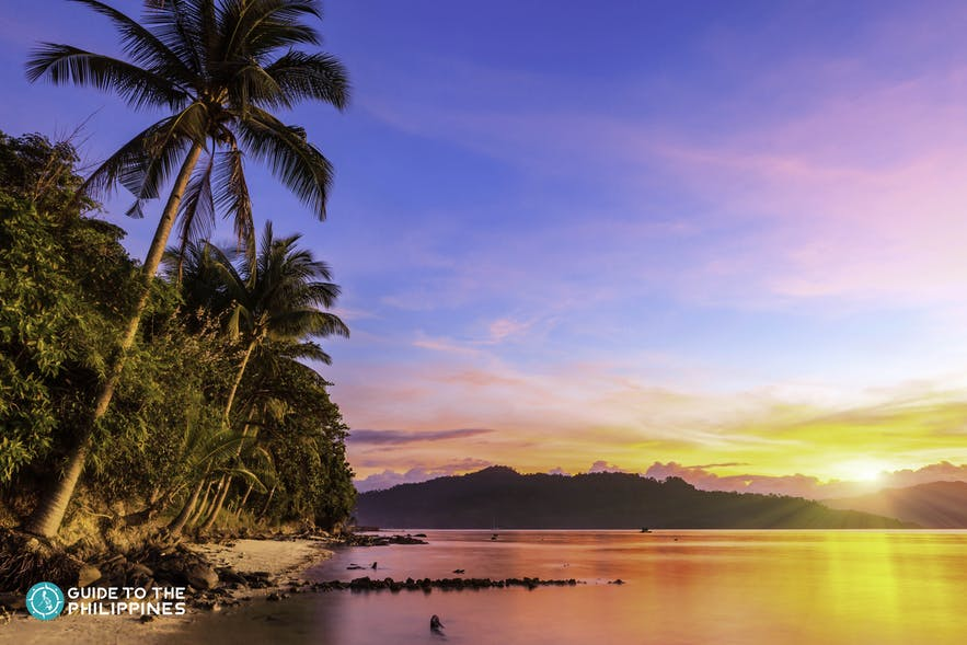 Sunset at Port Barton Bay in Palawan