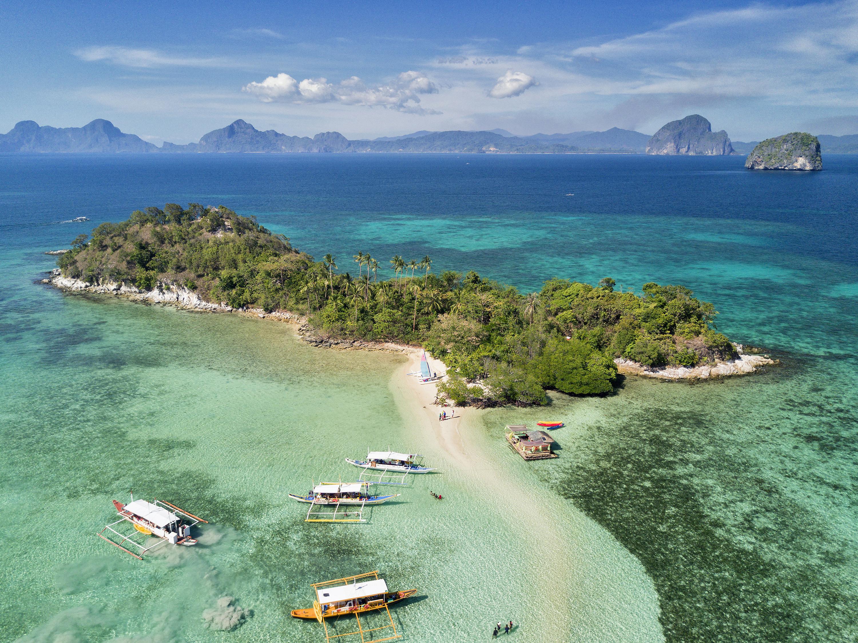 Aerial view of Snake Island in El Nido Palawan
