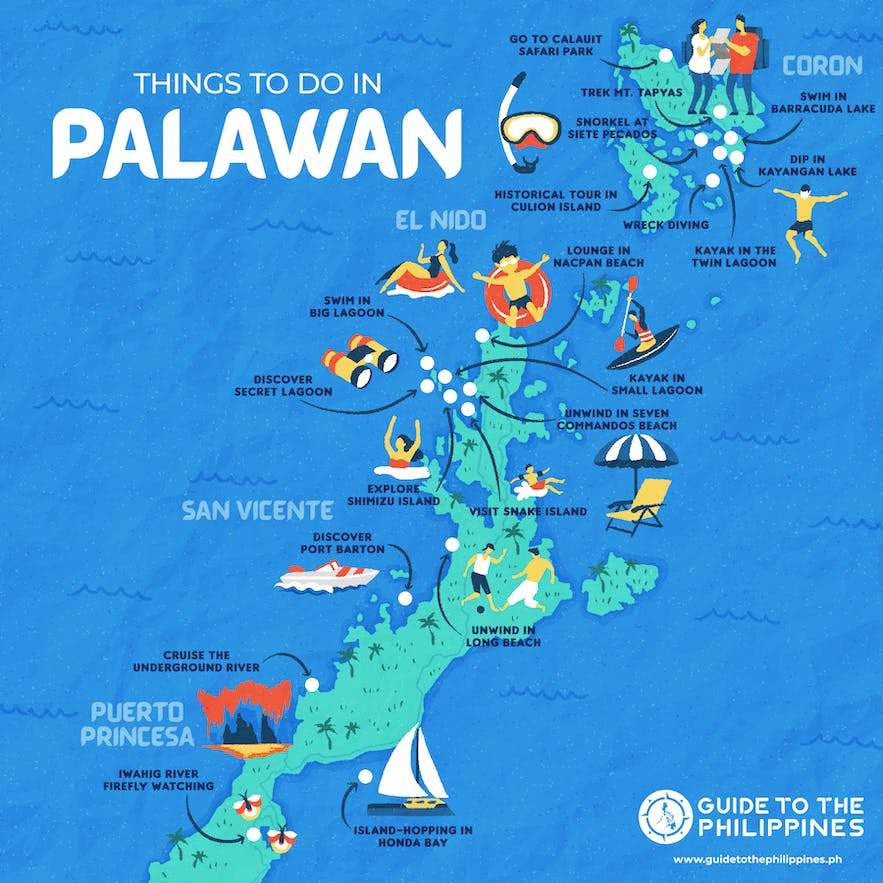 Guide to the Philippines' map of things to do in Palawan, including San Vicente