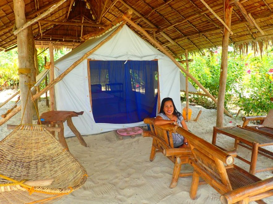 Glamping tent at Thelma and Toby's Island Camping Adventure in Port Barton, Palawan