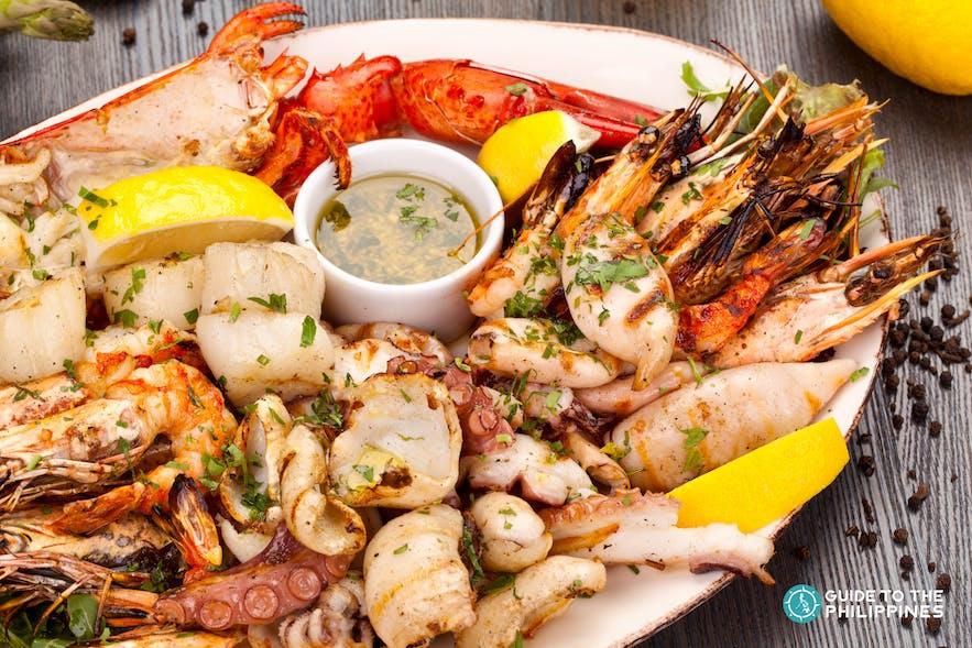 Seafood available at Puerto Galera restaurants, and resorts