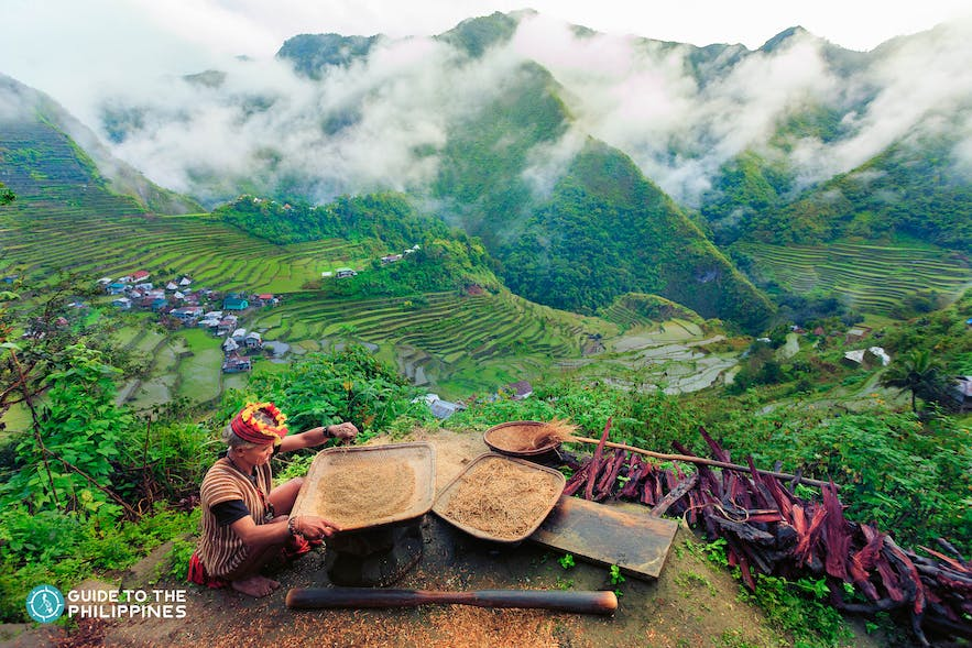 Beautiful view of an Ifugao at the Banaue Rice Terraces