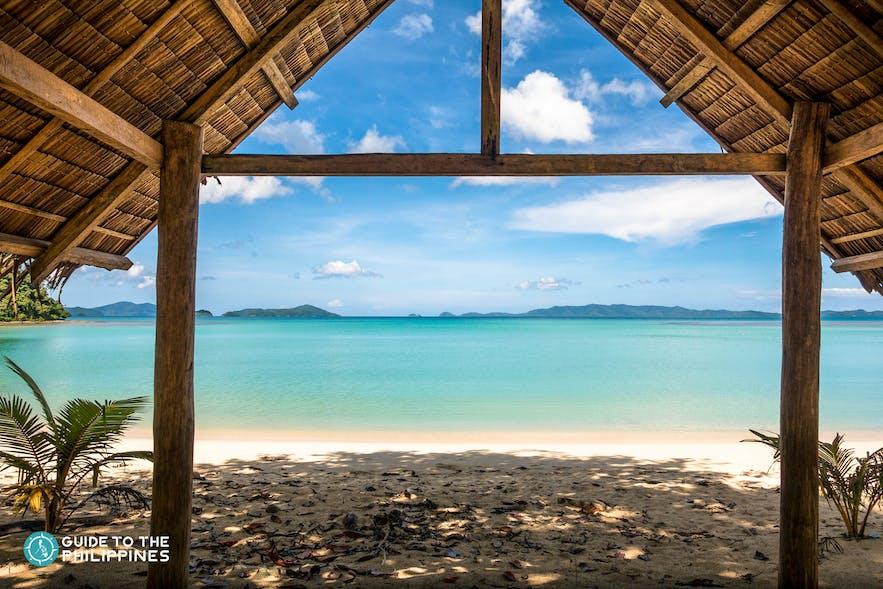 Beach view from a nipa hut at Long Beach in San Vicente, Palawan