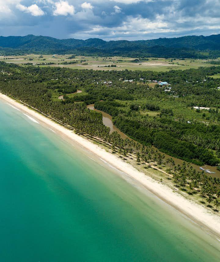 Drone shot of Long Beach in San Vicente, Palawan