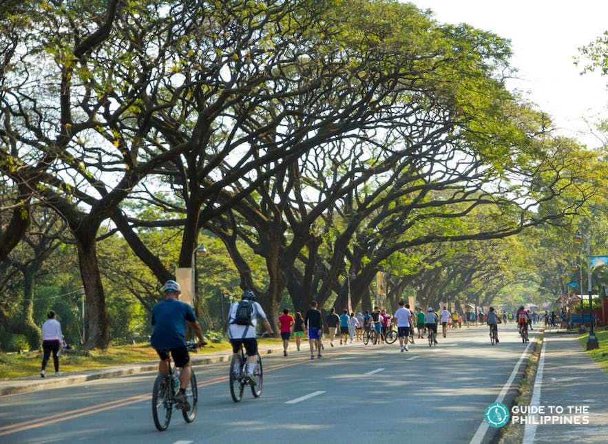 Bikers and joggers at The Oval in UP Diliman