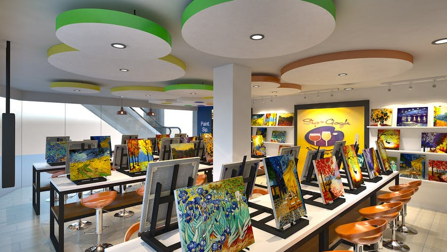 Artworks at Sip n Gogh in Congressional Avenue, Quezon City