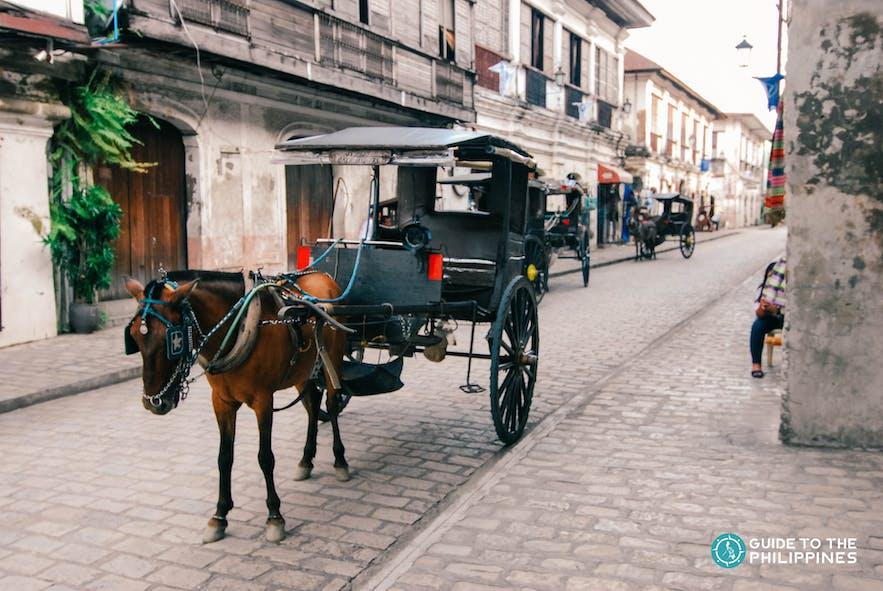 Horse-drawn carriage, locally known as kalesa in Vigan, Ilocos Sur