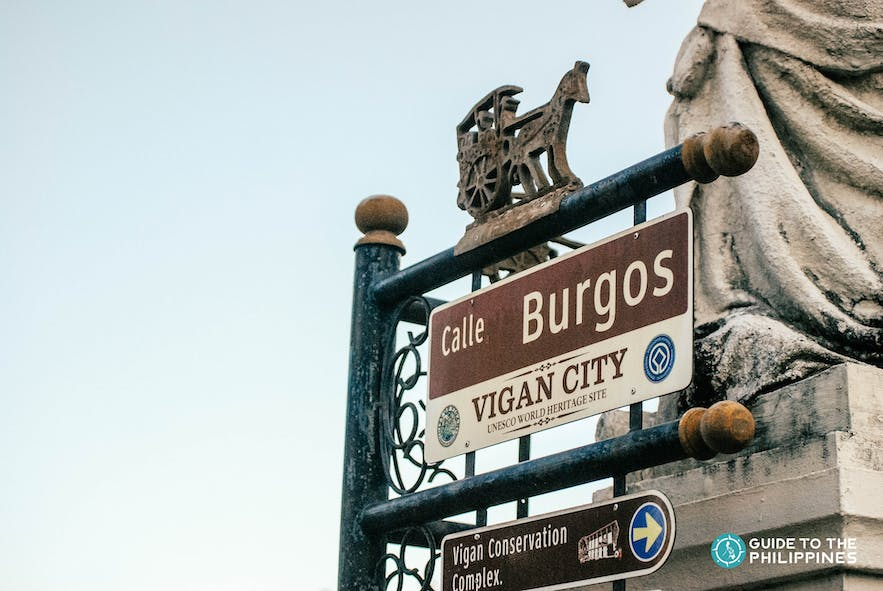 Street sign to Father Burgos Museum or the Vigan Conservation Complex