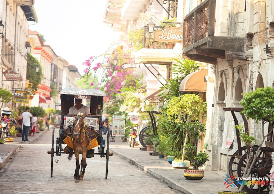 Kalesa at the cobblestone street known as Calle Crisologo in Vigan