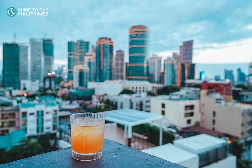 Cocktail drink at a rooftop bar in Poblacion, Makati