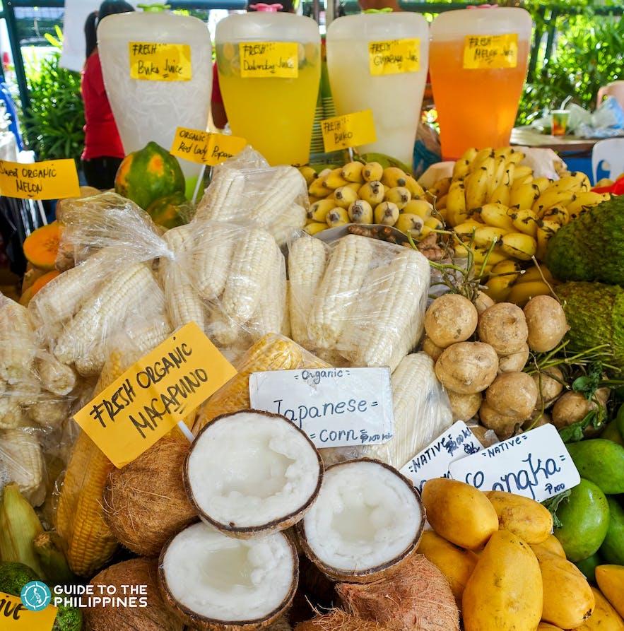 Refreshing drink and fruits at Salcedo Market in Salcedo Village, Makati