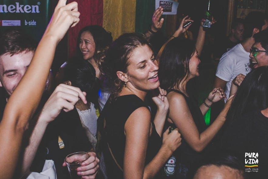 People dancing to the Costa Rican reggae music at Pura Vida in Poblacion, Makati